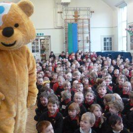Pudsey bear visits Ysgol Deganwy